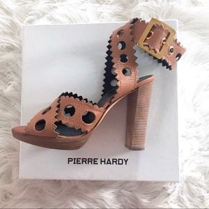 PIERRE HARDY Leather Ankle Strap Sexy Sandals Heel